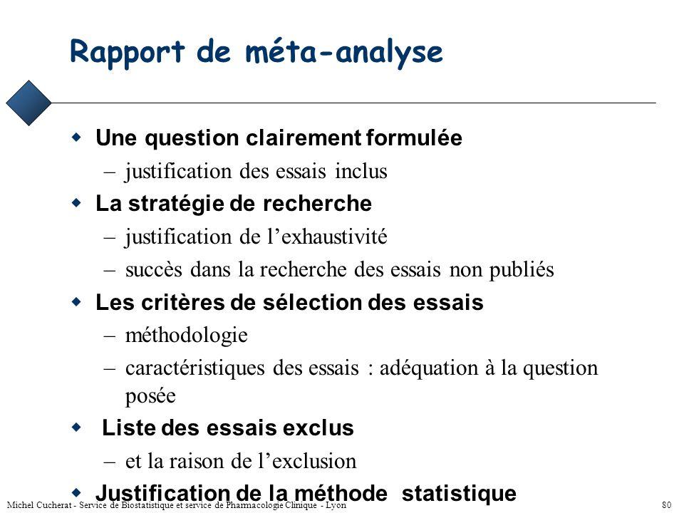 Michel Cucherat - Service de Biostatistique et service de Pharmacologie Clinique - Lyon 79 Utilisation (2) Mettre en perspective un essai par rapport