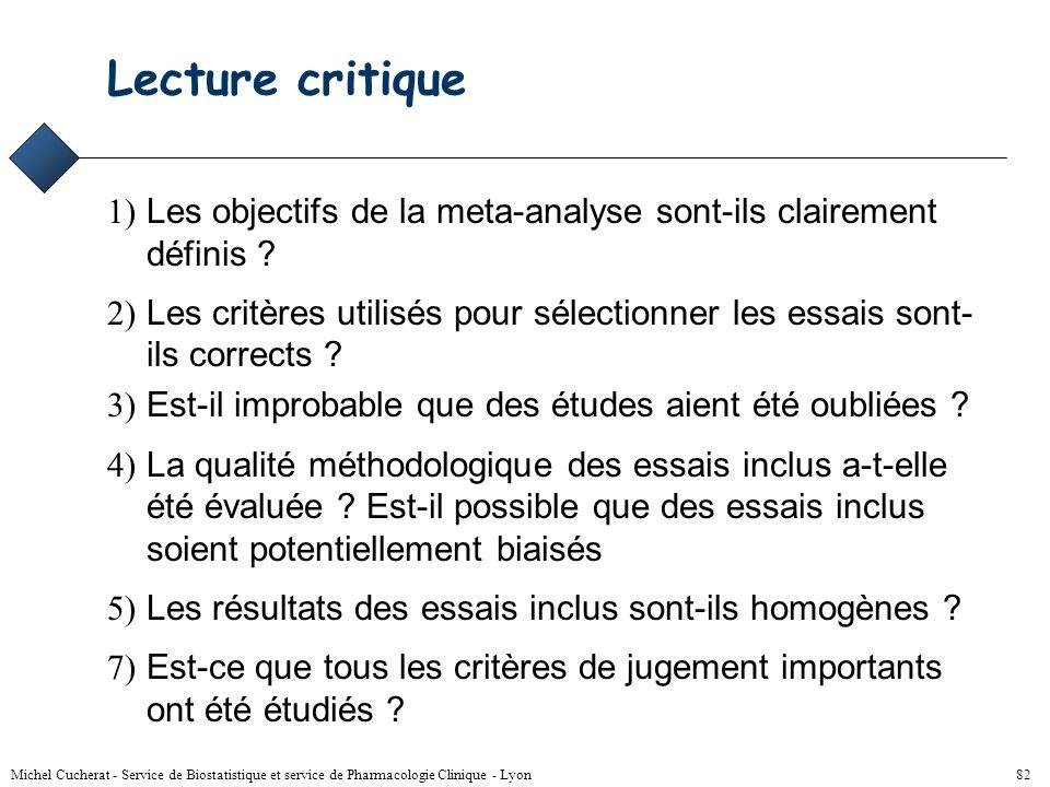Michel Cucherat - Service de Biostatistique et service de Pharmacologie Clinique - Lyon 81 Rapport méta-analyse (2) Résultats –pour chaque critère le