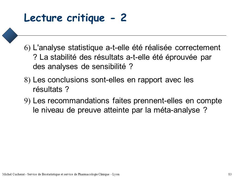 Michel Cucherat - Service de Biostatistique et service de Pharmacologie Clinique - Lyon 82 Lecture critique 1) Les objectifs de la meta-analyse sont-i