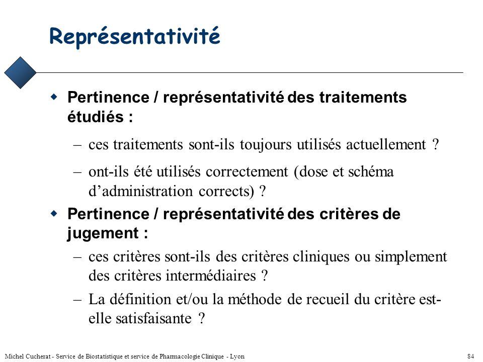 Michel Cucherat - Service de Biostatistique et service de Pharmacologie Clinique - Lyon 83 Lecture critique - 2 6) L'analyse statistique a-t-elle été