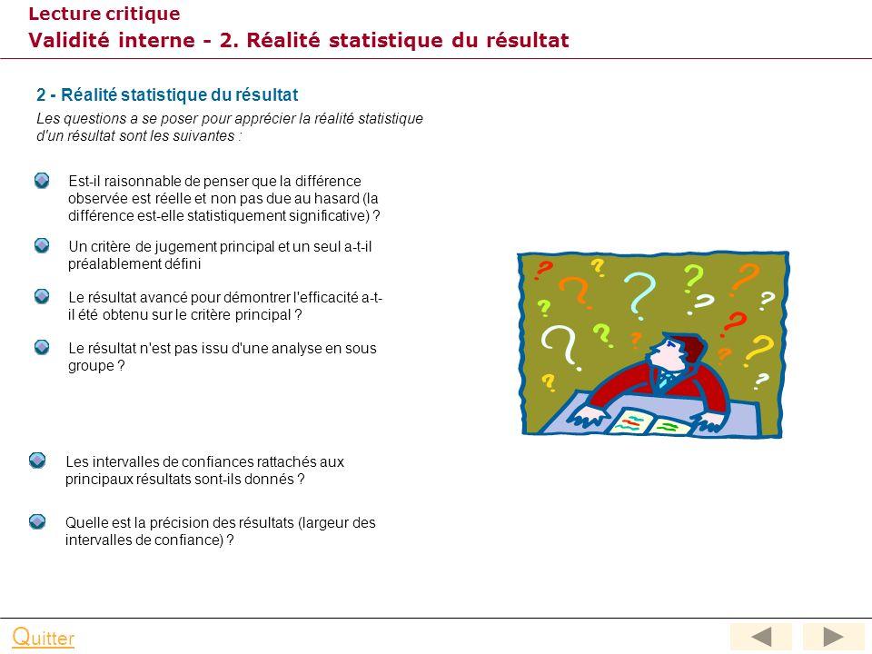Lecture critique Q uitter Validité interne - 1. Absence de biais La validité d'un résultat (validité interne) s'appréhende à travers une série de ques