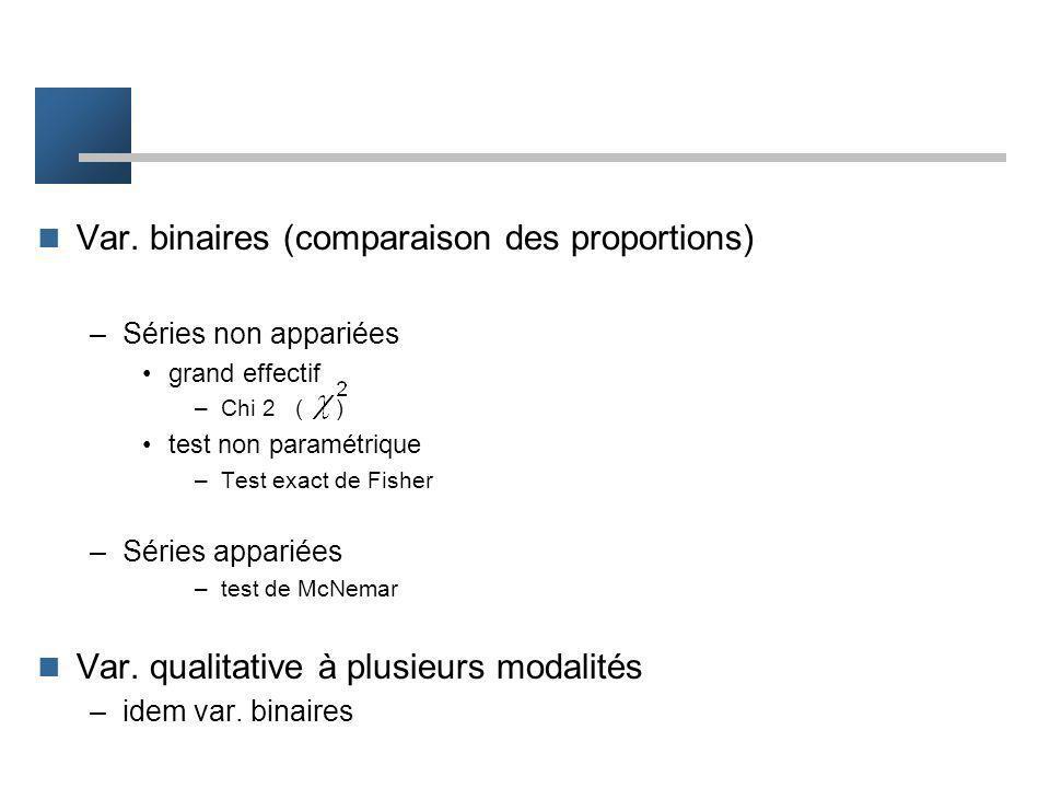 Var. continues (comparaison des moyennes) –Séries non appariées grand effectif –test t (test de Student), Test z test non paramétrique –Test de Wilcox
