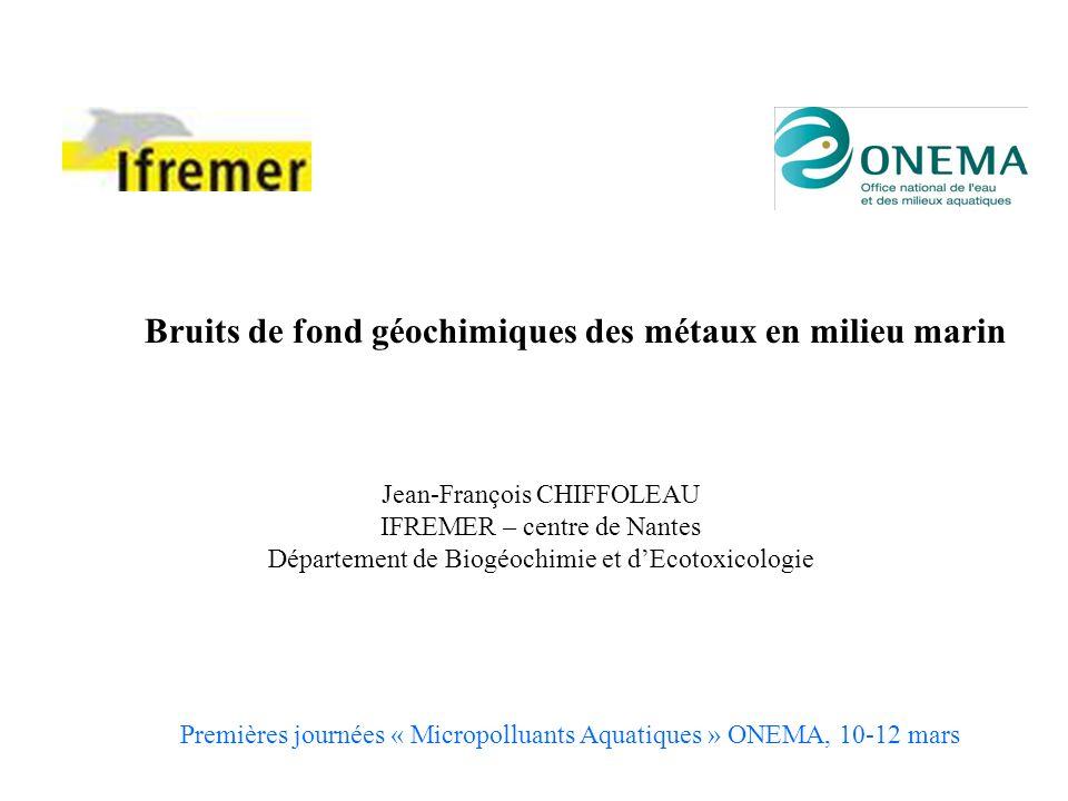 Bruits de fond géochimiques des métaux en milieu marin Jean-François CHIFFOLEAU IFREMER – centre de Nantes Département de Biogéochimie et dEcotoxicolo