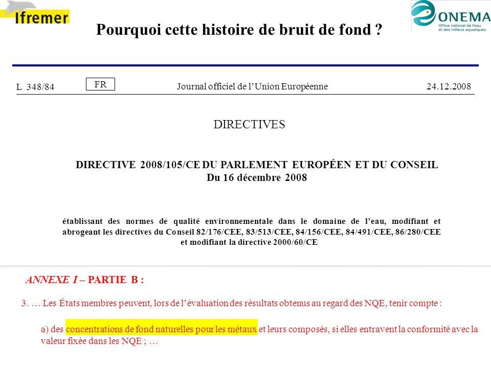 Pourquoi cette histoire de bruit de fond ? DIRECTIVES DIRECTIVE 2008/105/CE DU PARLEMENT EUROPÉEN ET DU CONSEIL Du 16 décembre 2008 établissant des no