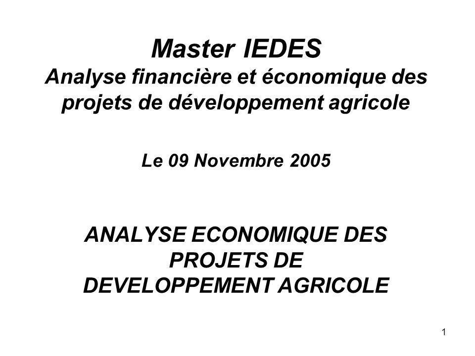 1 Master IEDES Analyse financière et économique des projets de développement agricole Le 09 Novembre 2005 ANALYSE ECONOMIQUE DES PROJETS DE DEVELOPPEM