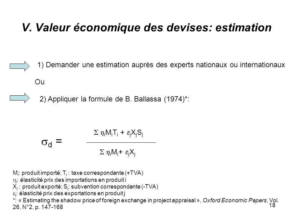 18 V. Valeur économique des devises: estimation 1) Demander une estimation auprès des experts nationaux ou internationaux 2) Appliquer la formule de B