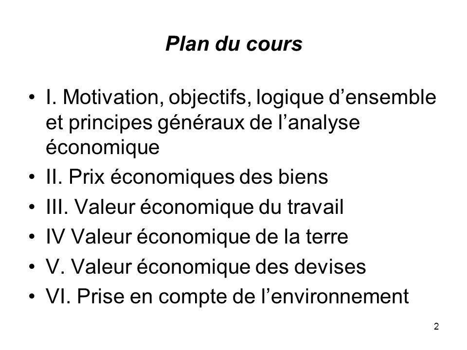 2 Plan du cours I. Motivation, objectifs, logique densemble et principes généraux de lanalyse économique II. Prix économiques des biens III. Valeur éc