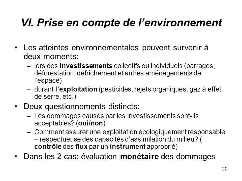 20 VI. Prise en compte de lenvironnement Les atteintes environnementales peuvent survenir à deux moments: –lors des investissements collectifs ou indi