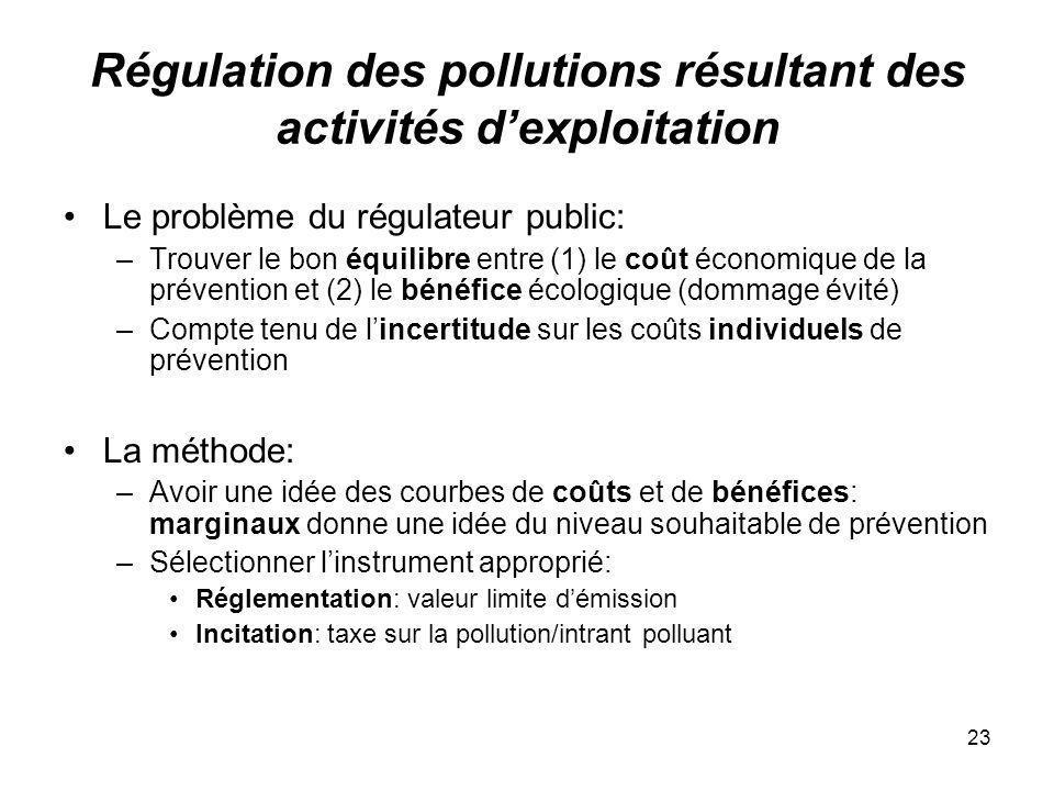 23 Régulation des pollutions résultant des activités dexploitation Le problème du régulateur public: –Trouver le bon équilibre entre (1) le coût écono
