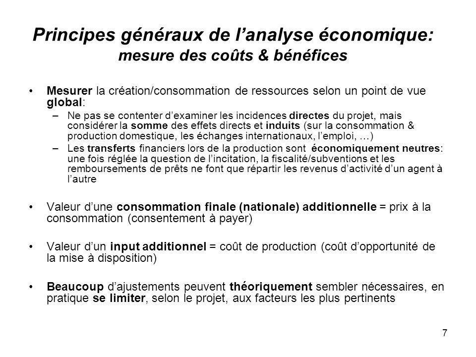 7 Principes généraux de lanalyse économique: mesure des coûts & bénéfices Mesurer la création/consommation de ressources selon un point de vue global: