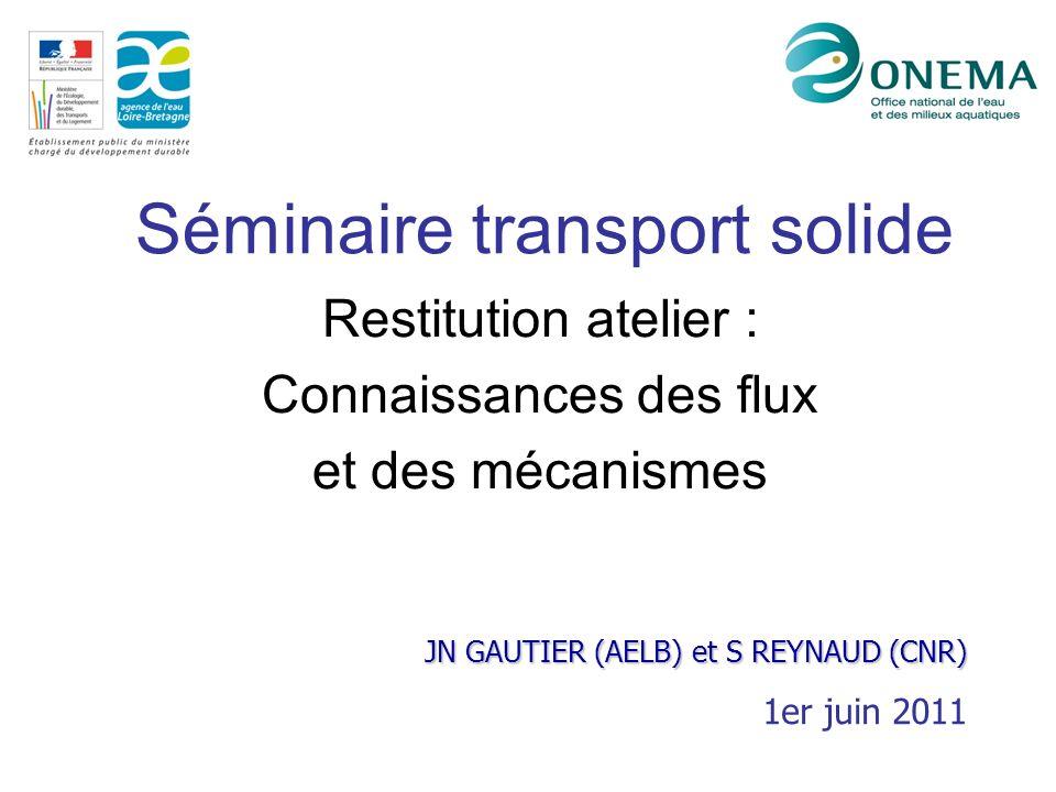 Séminaire transport solide Restitution atelier : Connaissances des flux et des mécanismes JN GAUTIER (AELB) et S REYNAUD (CNR) 1er juin 2011