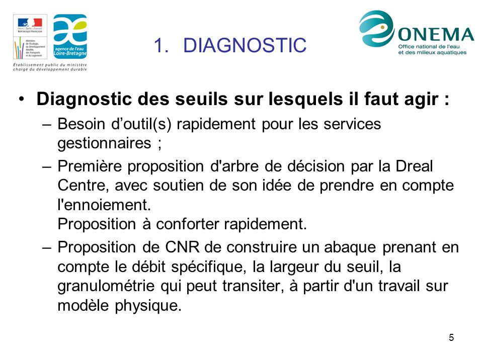 5 Diagnostic des seuils sur lesquels il faut agir : –Besoin doutil(s) rapidement pour les services gestionnaires ; –Première proposition d arbre de décision par la Dreal Centre, avec soutien de son idée de prendre en compte l ennoiement.