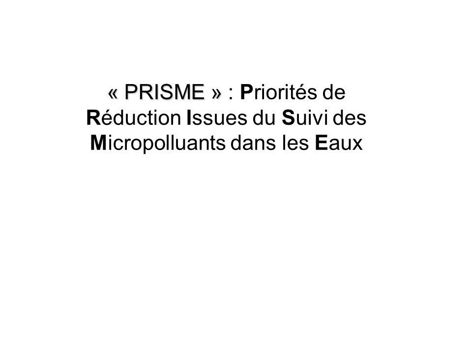 « PRISME » « PRISME » : Priorités de Réduction Issues du Suivi des Micropolluants dans les Eaux