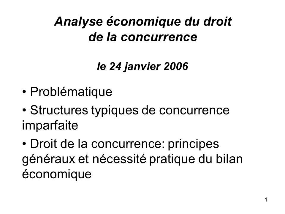1 Analyse économique du droit de la concurrence le 24 janvier 2006 Problématique Structures typiques de concurrence imparfaite Droit de la concurrence
