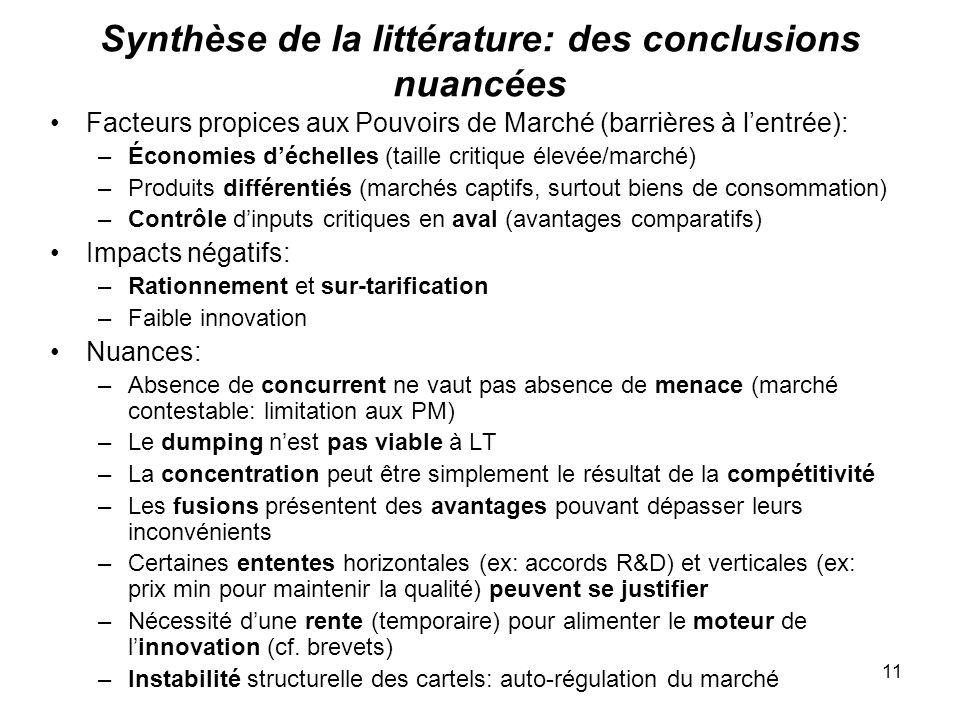 11 Synthèse de la littérature: des conclusions nuancées Facteurs propices aux Pouvoirs de Marché (barrières à lentrée): –Économies déchelles (taille c