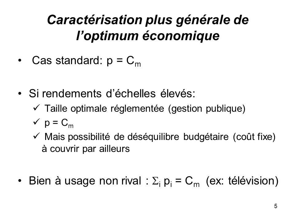5 Caractérisation plus générale de loptimum économique Cas standard: p = C m Si rendements déchelles élevés: Taille optimale réglementée (gestion publ