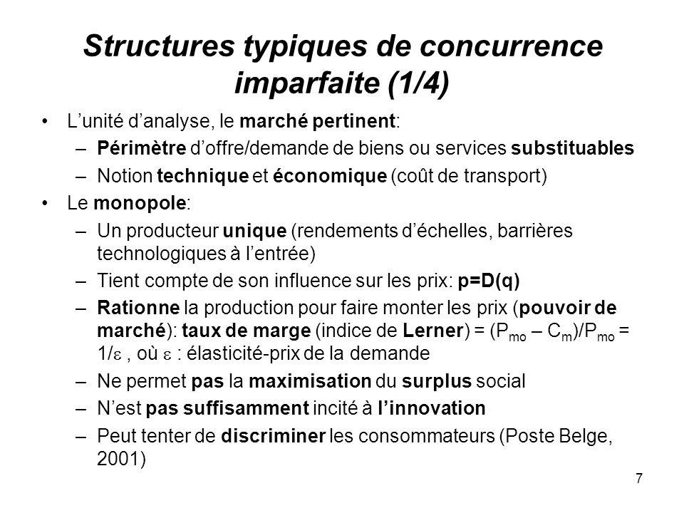 8 Structures typiques de concurrence imparfaite (2/4) Loligopole: –Un certain nombre de producteurs fabriquant un produit identique (ex.: sidérurgie, chimie, ciment,..) se font concurrence par les prix (CT, sur-capacités transitoires) ou quantités (LT, investissements) –Un seul prix de marché: p=D( i q i ) –A léquilibre (LT), les taux de marge (L) dépendent notamment des différentiels de compétitivité, des parts de marché: (P – C j m )/P = j /, avec j: part de marché de j (P – )/P = 1/N, avec N: nombre de firmes –Incitation à linnovation ambiguë: Amortissement sur un marché restreint (-) Perspective daugmentation de la part de marché (+)