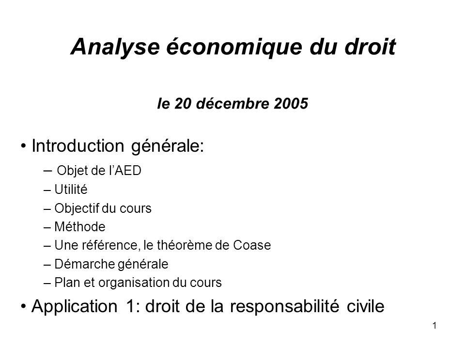 1 Analyse économique du droit le 20 décembre 2005 Introduction générale: – Objet de lAED – Utilité – Objectif du cours – Méthode – Une référence, le t