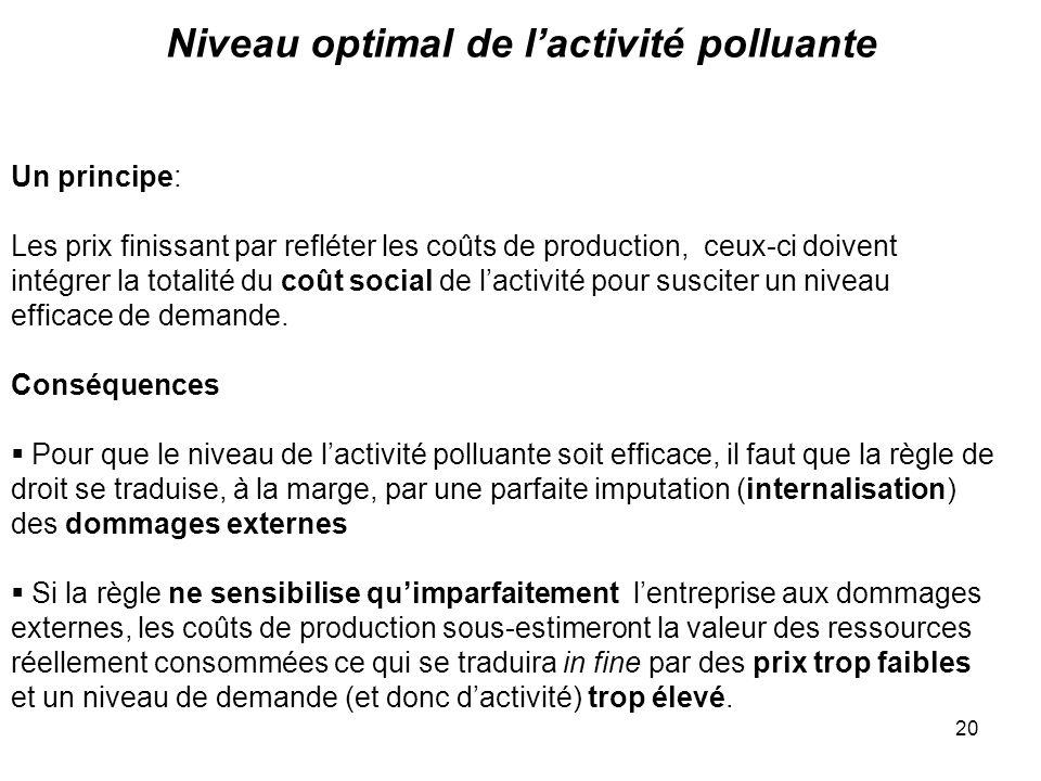 20 Niveau optimal de lactivité polluante Un principe: Les prix finissant par refléter les coûts de production, ceux-ci doivent intégrer la totalité du