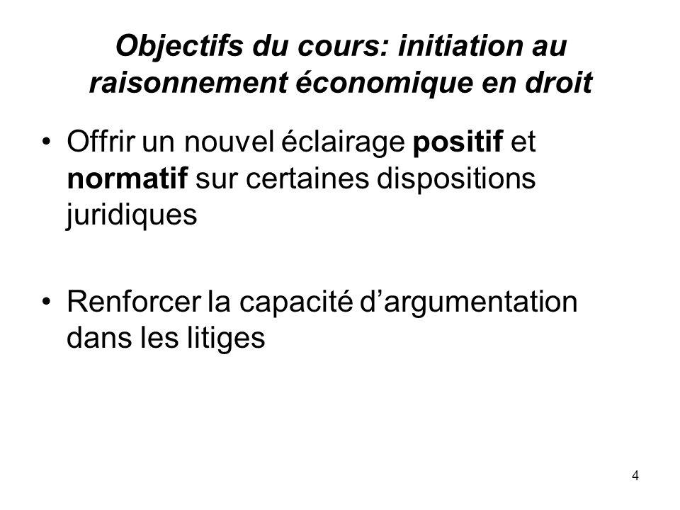 4 Objectifs du cours: initiation au raisonnement économique en droit Offrir un nouvel éclairage positif et normatif sur certaines dispositions juridiq