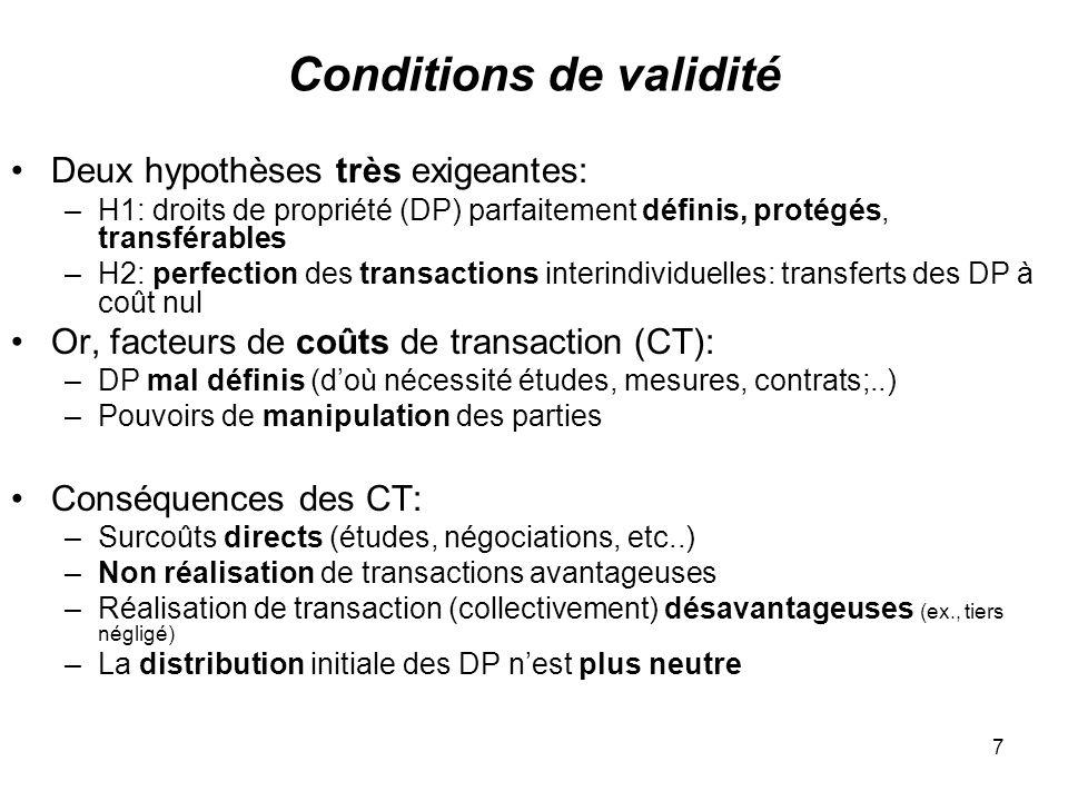 7 Conditions de validité Deux hypothèses très exigeantes: –H1: droits de propriété (DP) parfaitement définis, protégés, transférables –H2: perfection