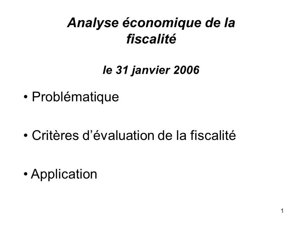 1 Analyse économique de la fiscalité le 31 janvier 2006 Problématique Critères dévaluation de la fiscalité Application