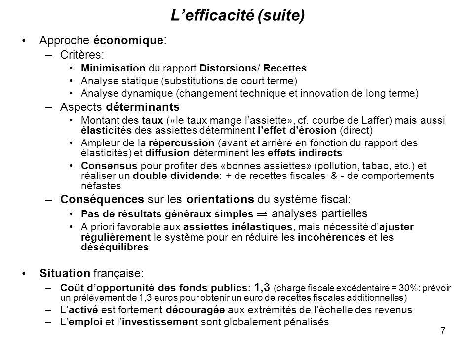 7 Lefficacité (suite) Approche économique : –Critères: Minimisation du rapport Distorsions/ Recettes Analyse statique (substitutions de court terme) Analyse dynamique (changement technique et innovation de long terme) –Aspects déterminants Montant des taux («le taux mange lassiette», cf.