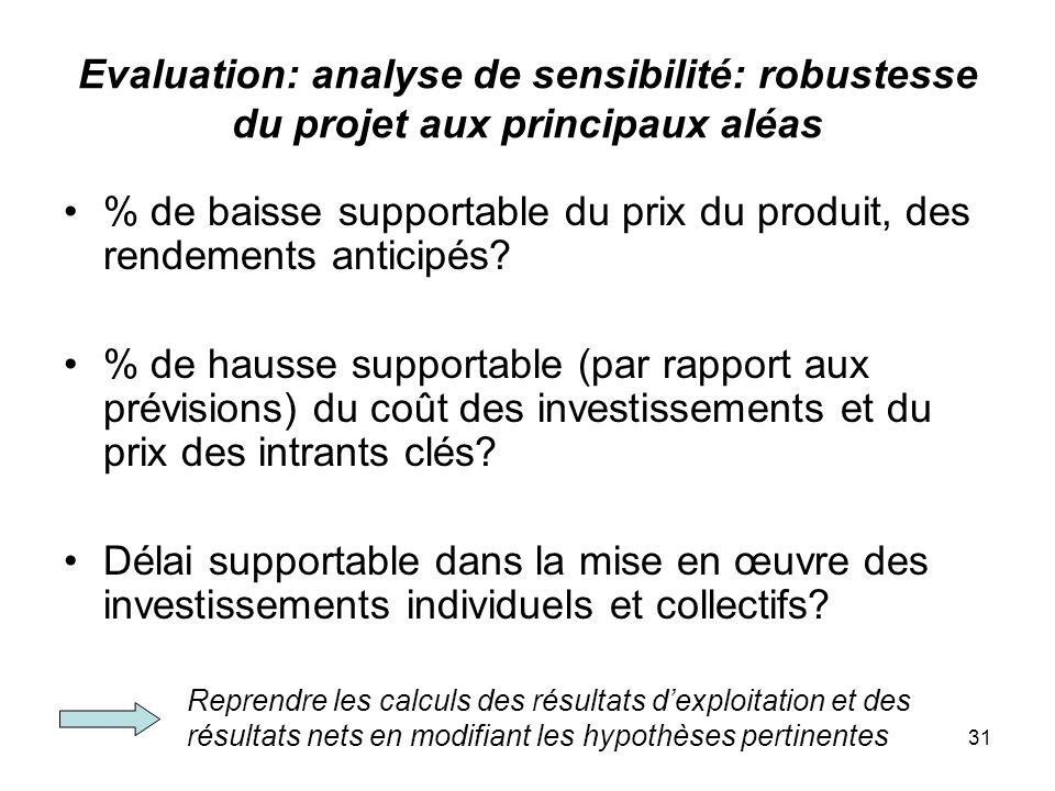 31 Evaluation: analyse de sensibilité: robustesse du projet aux principaux aléas % de baisse supportable du prix du produit, des rendements anticipés.