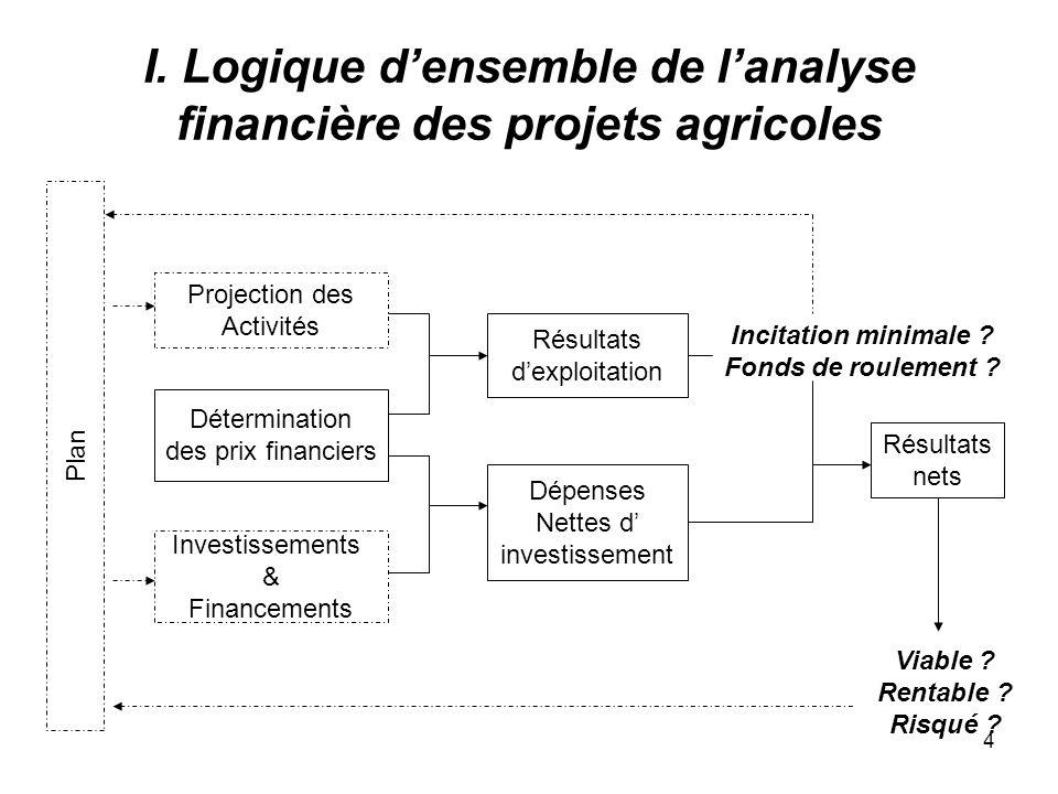 4 I. Logique densemble de lanalyse financière des projets agricoles Projection des Activités Détermination des prix financiers Investissements & Finan