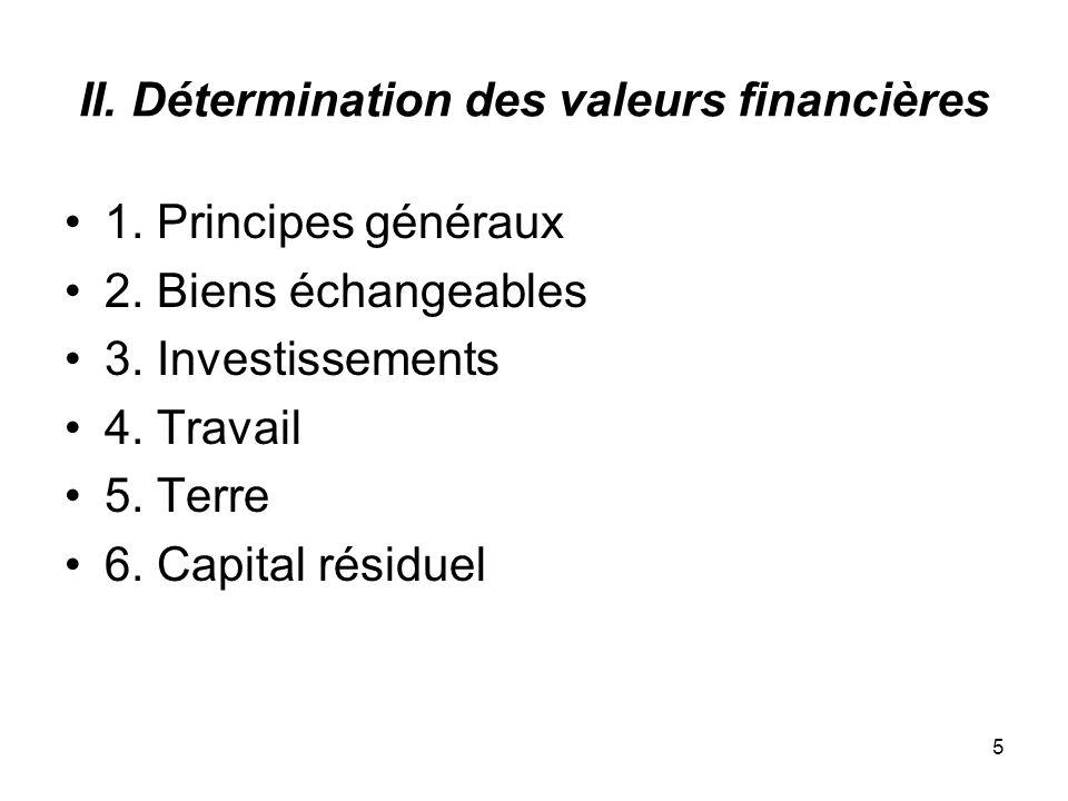 5 II. Détermination des valeurs financières 1. Principes généraux 2.