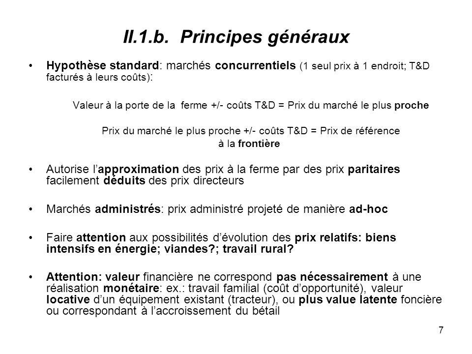 8 II.2.Biens échangeables: prix directeurs Output Input Production nationale Compétitive.