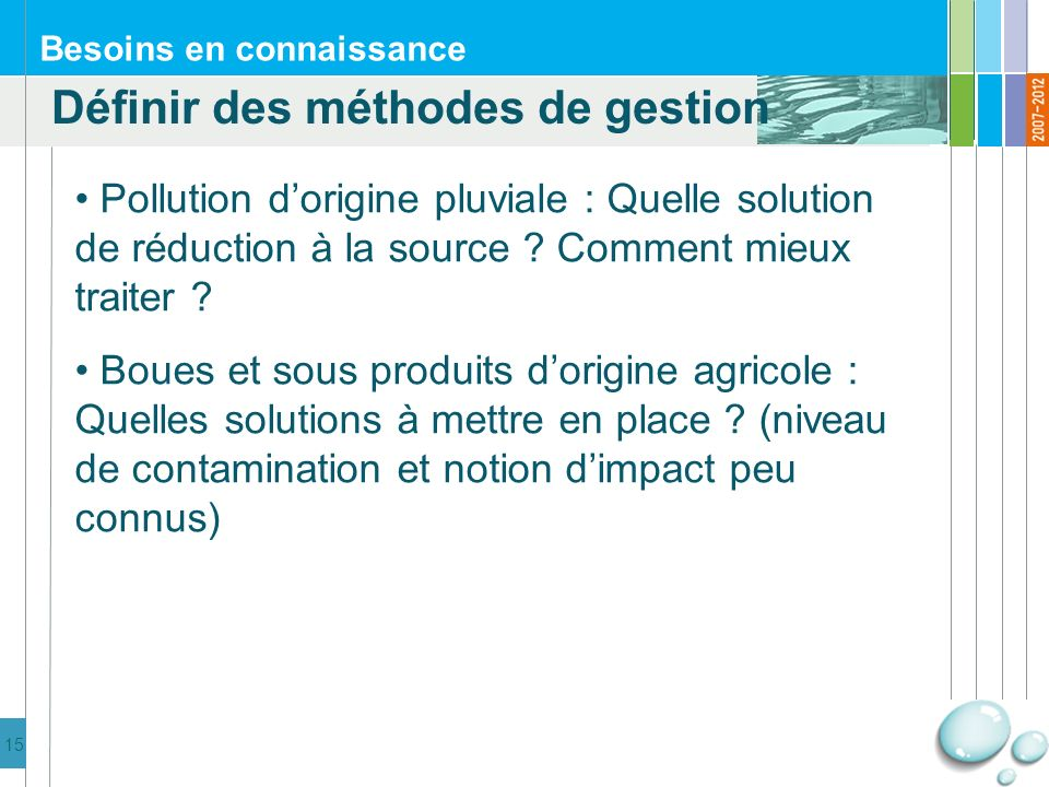 15 Besoins en connaissance Pollution dorigine pluviale : Quelle solution de réduction à la source .