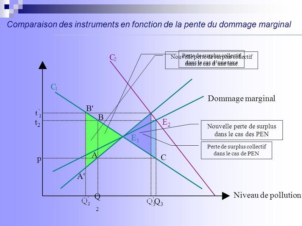B p C 2 C 1 C B E2E2 E 1 t2t2 Niveau de pollution Dommage marginal A Q2Q2 Q3Q3 Perte de bien être dans le cas d une taxe Perte de bien être dans le cas des PEN Gain de bien être dans le cas des PEN A Comparaison des instruments en fonction de la pente du dommage marginal