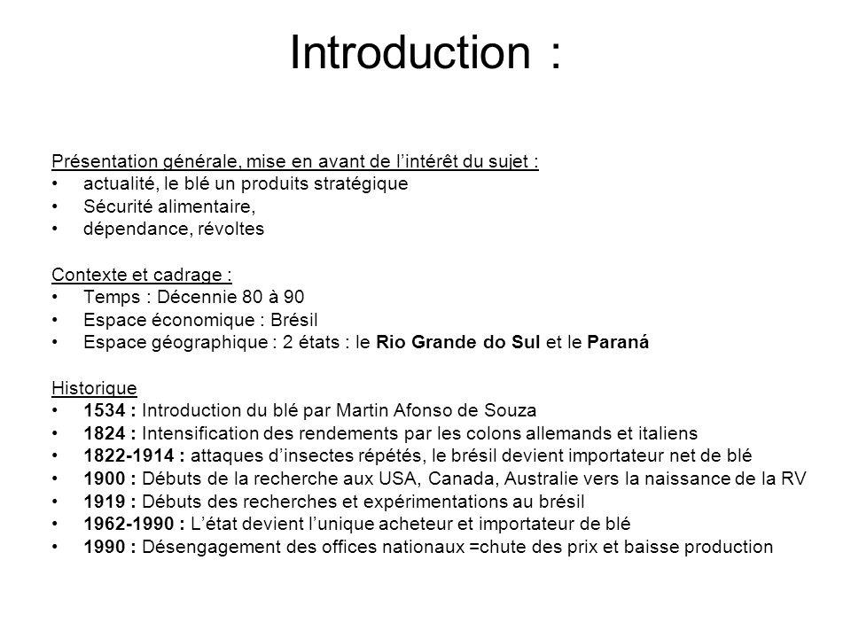 Introduction : Présentation générale, mise en avant de lintérêt du sujet : actualité, le blé un produits stratégique Sécurité alimentaire, dépendance,