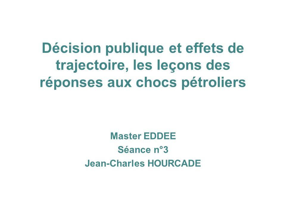 Décision publique et effets de trajectoire, les leçons des réponses aux chocs pétroliers Master EDDEE Séance n°3 Jean-Charles HOURCADE