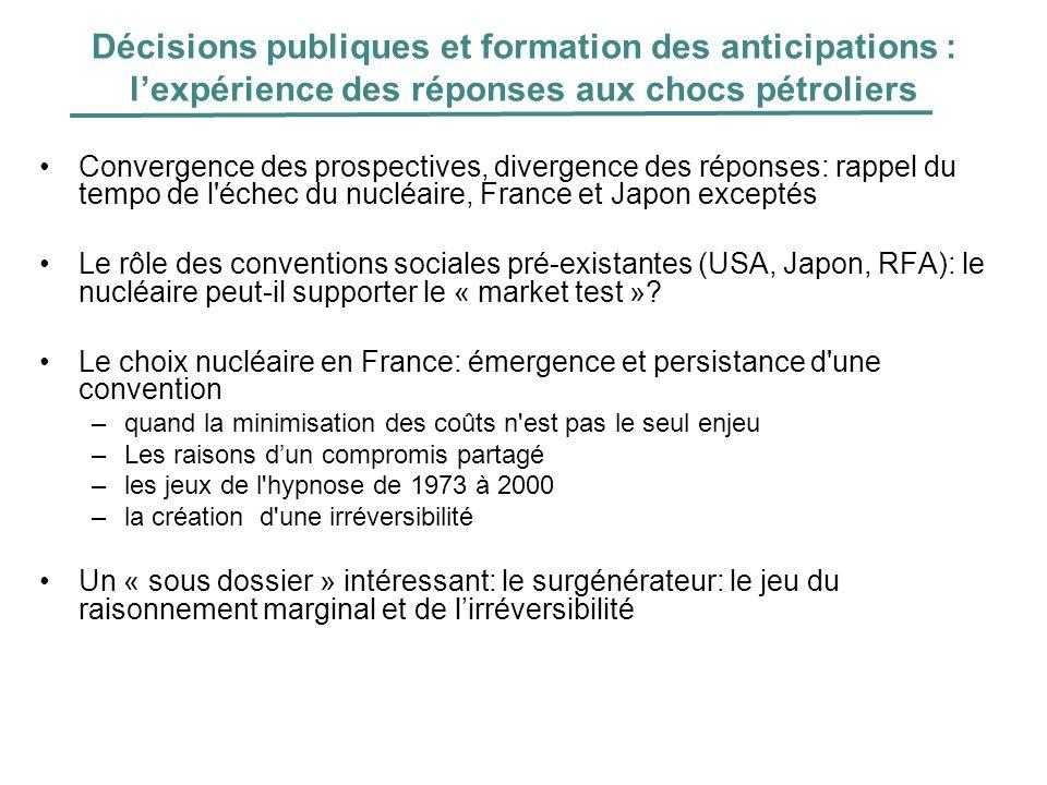 Décisions publiques et formation des anticipations : lexpérience des réponses aux chocs pétroliers Convergence des prospectives, divergence des répons