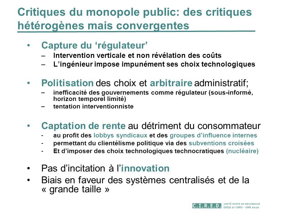 Critiques du monopole public: des critiques hétérogènes mais convergentes Capture du régulateur –Intervention verticale et non révélation des coûts –L