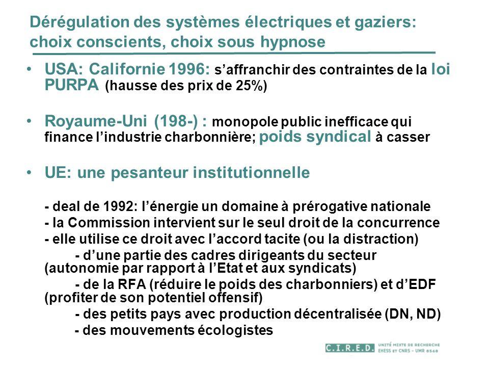 Dérégulation des systèmes électriques et gaziers: choix conscients, choix sous hypnose USA: Californie 1996: saffranchir des contraintes de la loi PUR