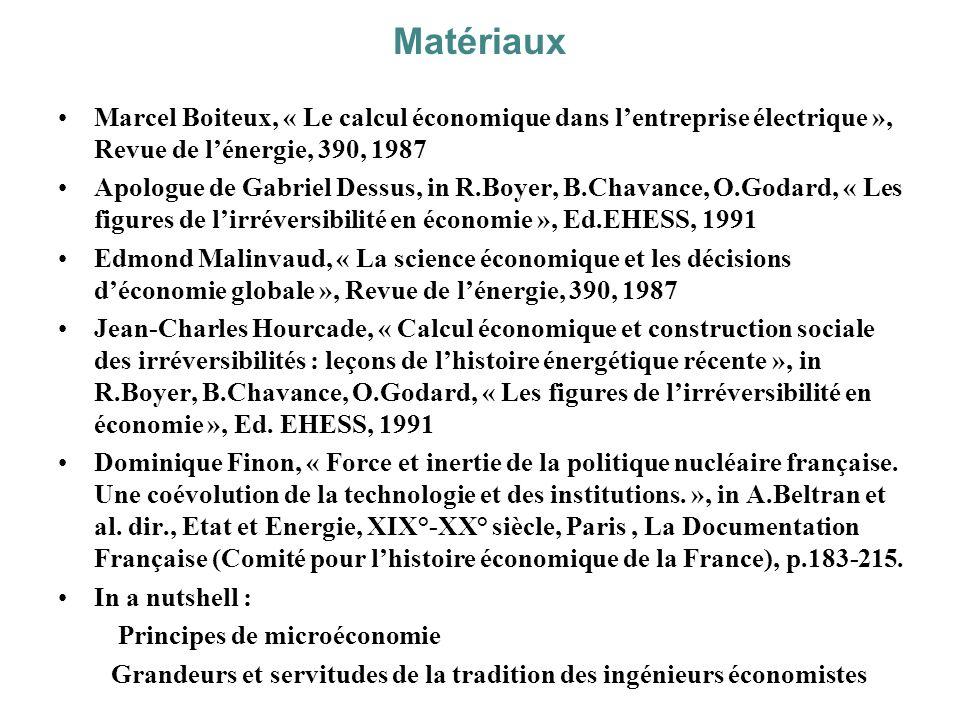 Matériaux Marcel Boiteux, « Le calcul économique dans lentreprise électrique », Revue de lénergie, 390, 1987 Apologue de Gabriel Dessus, in R.Boyer, B