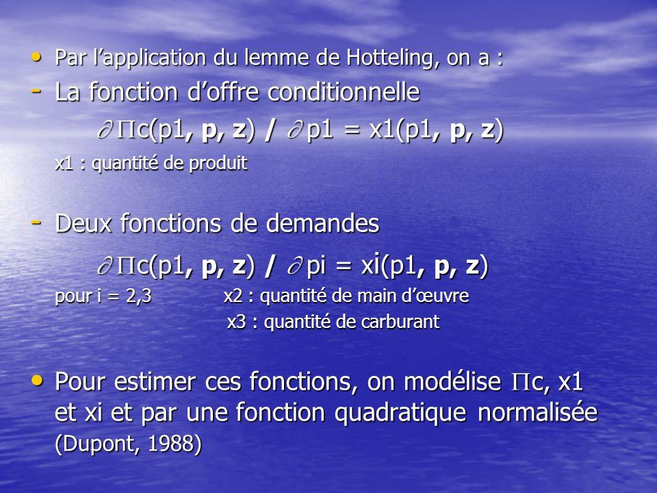 Par lapplication du lemme de Hotteling, on a : Par lapplication du lemme de Hotteling, on a : - La fonction doffre conditionnelle c(p1, p, z) / p1 = x1(p1, p, z) c(p1, p, z) / p1 = x1(p1, p, z) x1 : quantité de produit - Deux fonctions de demandes - Deux fonctions de demandes c(p1, p, z) / pi = x i (p1, p, z) c(p1, p, z) / pi = x i (p1, p, z) pour i = 2,3 x2 : quantité de main dœuvre x3 : quantité de carburant Pour estimer ces fonctions, on modélise c, x1 et xi et par une fonction quadratique normalisée (Dupont, 1988) Pour estimer ces fonctions, on modélise c, x1 et xi et par une fonction quadratique normalisée (Dupont, 1988)