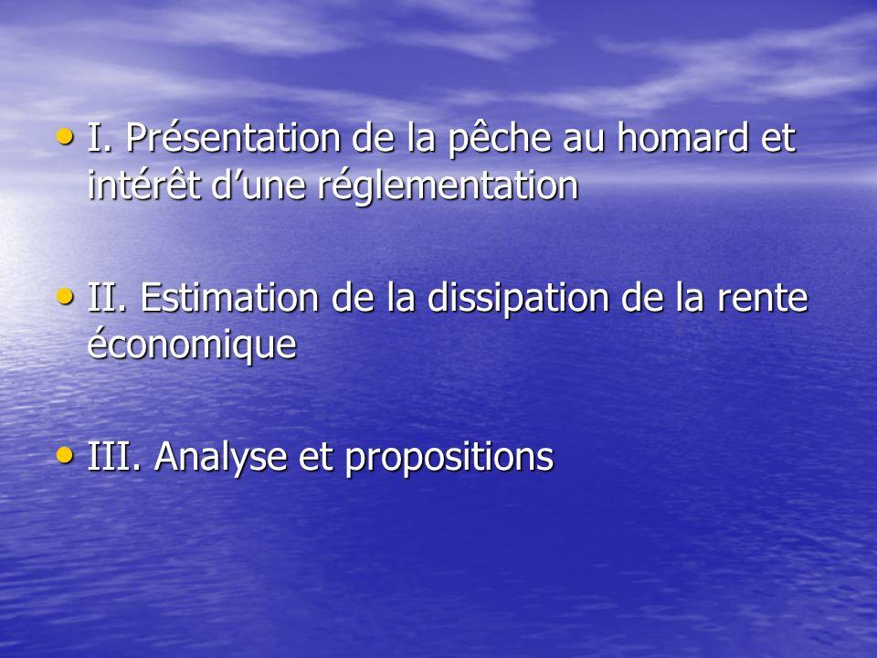 I. Présentation de la pêche au homard et intérêt dune réglementation I. Présentation de la pêche au homard et intérêt dune réglementation II. Estimati