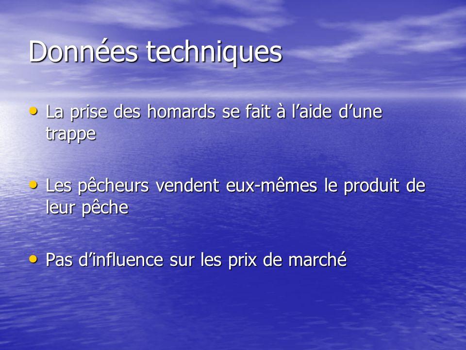 Données techniques La prise des homards se fait à laide dune trappe La prise des homards se fait à laide dune trappe Les pêcheurs vendent eux-mêmes le