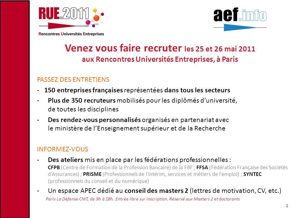 Venez vous faire recruter les 25 et 26 mai 2011 aux Rencontres Universités Entreprises, à Paris PASSEZ DES ENTRETIENS - 150 entreprises françaises rep