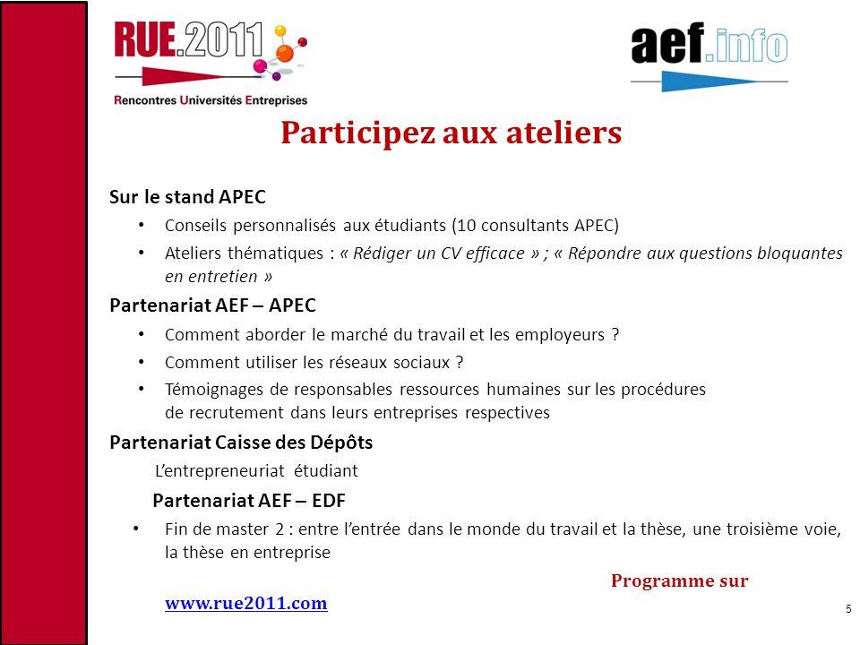 Participez aux ateliers Sur le stand APEC Conseils personnalisés aux étudiants (10 consultants APEC) Ateliers thématiques : « Rédiger un CV efficace »