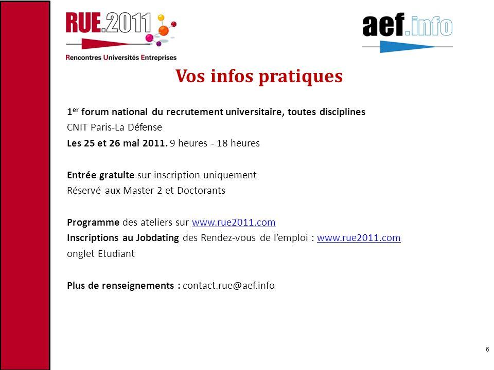Vos infos pratiques 1 er forum national du recrutement universitaire, toutes disciplines CNIT Paris-La Défense Les 25 et 26 mai 2011. 9 heures - 18 he