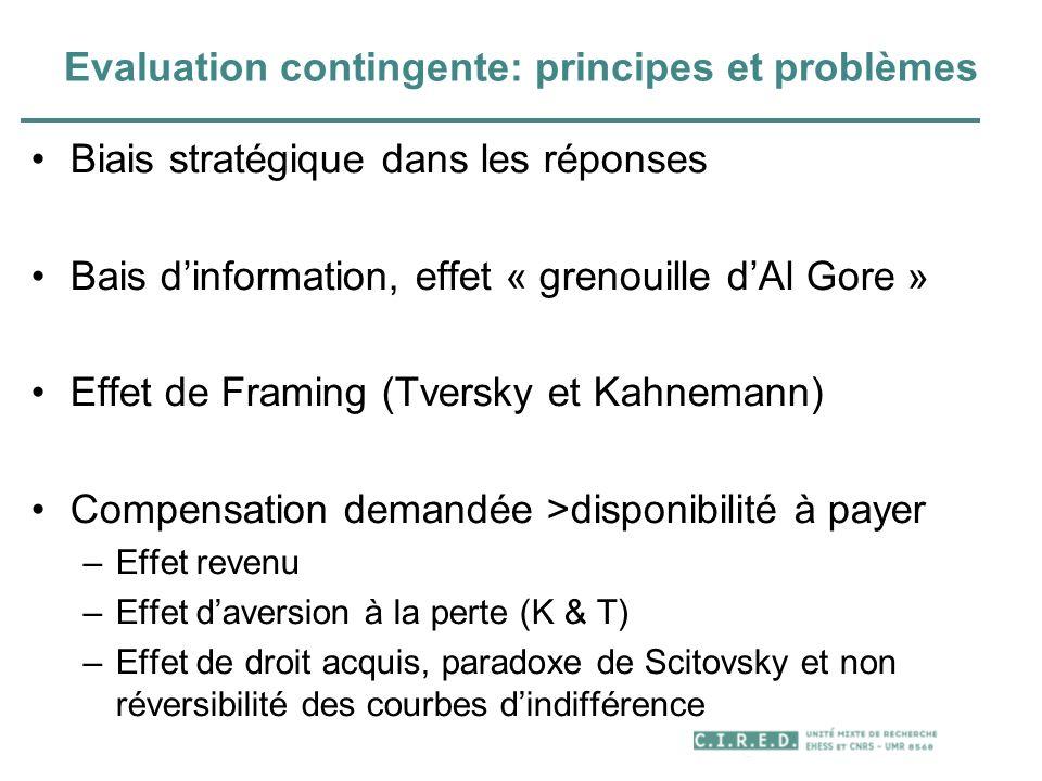 Evaluation contingente: principes et problèmes Biais stratégique dans les réponses Bais dinformation, effet « grenouille dAl Gore » Effet de Framing (