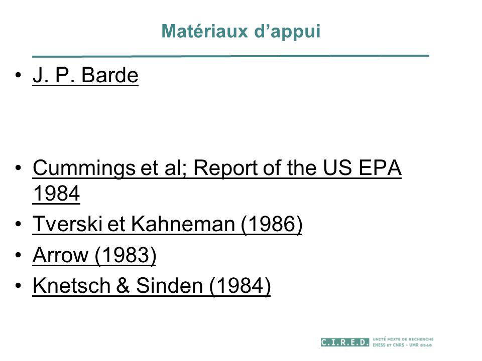 Matériaux dappui J. P. Barde Cummings et al; Report of the US EPA 1984 Tverski et Kahneman (1986) Arrow (1983) Knetsch & Sinden (1984)