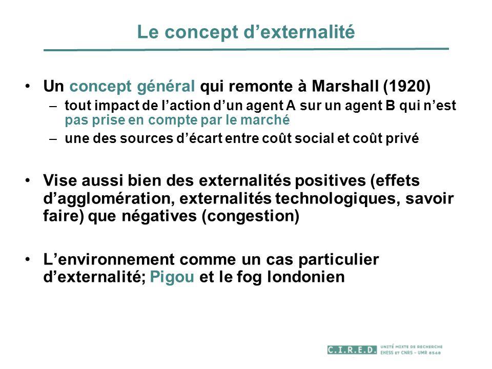 Le concept dexternalité Un concept général qui remonte à Marshall (1920) –tout impact de laction dun agent A sur un agent B qui nest pas prise en comp