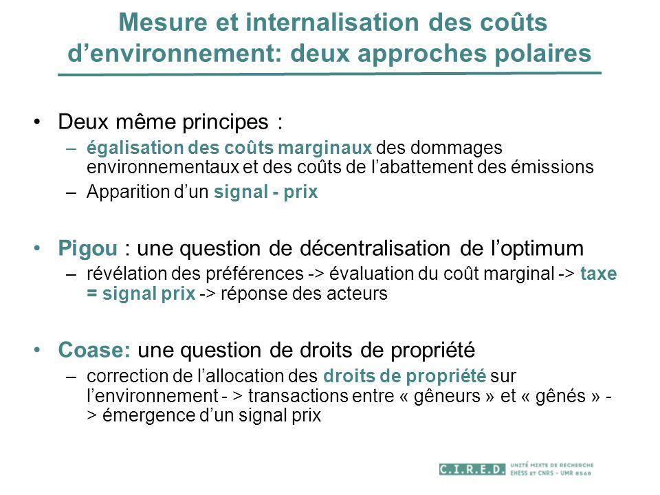 Mesure et internalisation des coûts denvironnement: deux approches polaires Deux même principes : –égalisation des coûts marginaux des dommages enviro