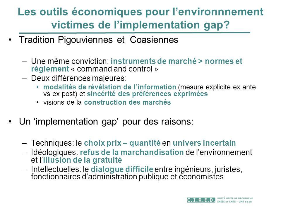 Calcul économique et environnement: ne pas se tromper de statut Le calcul économique « faute de mieux » car les normes …..